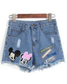 Mickey Print Fringe Denim Shorts