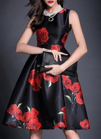 Round Neck Sleeveless Rose Print Flare Dress