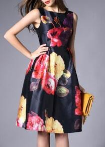 With Zipper Florals Flare Dress