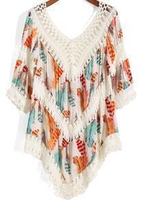 V Neck Crochet Hollow Leaves Print Orange Top