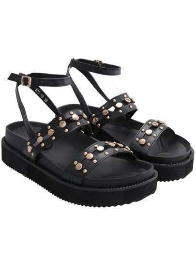 Black Ankle Strap Bead PU Sandals