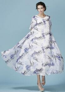 White V Neck Bohemia Floral Chiffon Dress