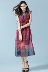 Red Tie-neck Short Sleeve Floral Slim Dress