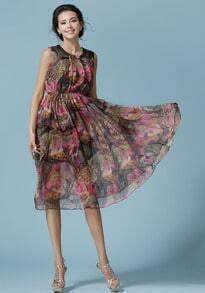 Red Sleeveless Bohemia Floral Chiffon Dress