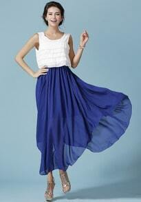 Blue Foam Waterfall Sleeveless Unusual Battenburg Cascading Ruffle Split Dress
