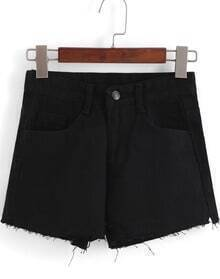 Black Pockets Split Denim Shorts