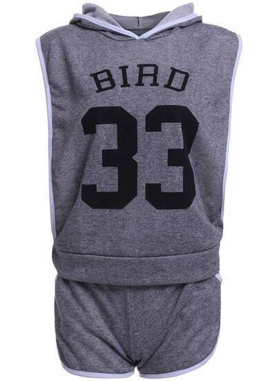 Grey Hooded Sleeveless BIRD 33 Print Top With Shorts