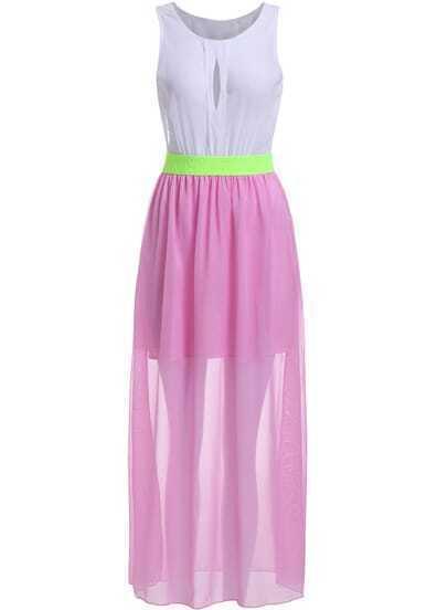 Pink Sleeveless Hollow Sheer Maxi Dress