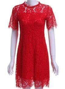 Red Round Neck Hollow Lace Slim Dress