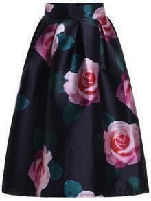 Black High Waist Rose Print Flare Skirt