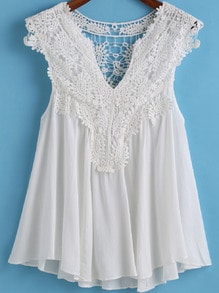 White V Neck Pleated Lace Tank Top