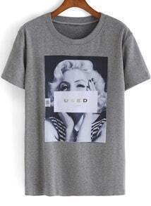 Grey Short Sleeve Monroe Print Loose T-Shirt