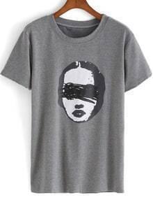 Grey Short Sleeve Head Print Loose T-Shirt