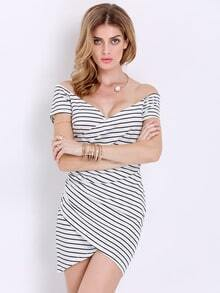 White Short Sleeve Striped Bodycon Dress
