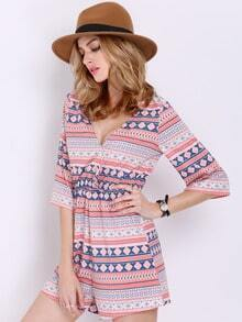 Coffee Half Sleeve V Neck Tribal Print Playsuit