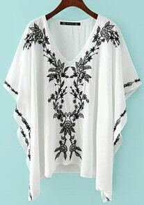 V Neck Embroidered Loose Top