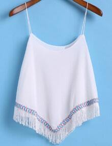 Spaghetti Strap Embroidered With Tassel Cami Top
