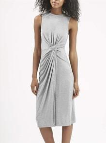 Grey Sleeveless Ruched Dress
