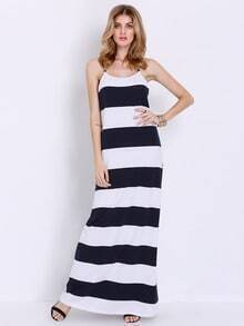 White Navy Spaghetti Strap Striped Maxi Dress