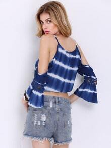 Blue Spaghetti Strap Off The Shoulder Crop Top