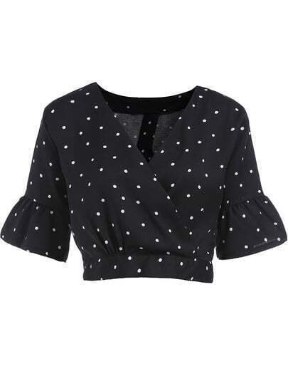 Black V Neck Bell Sleeve Crop Blouse
