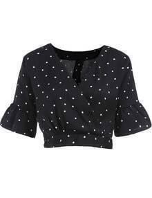 Black V Neck Bell Sleeve Crop Blouse