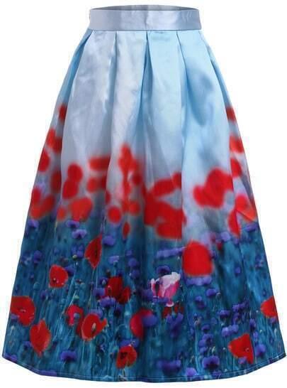 Falda cintura alta flores con vuelo -azul