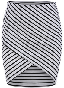 White Cross Front Striped Bodycon Skirt