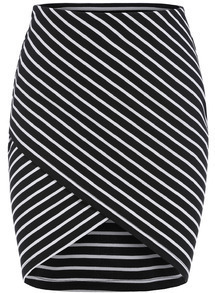 Black Cross Front Striped Bodycon Skirt
