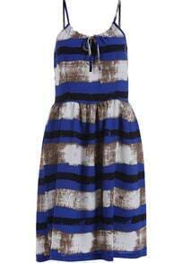Blue Spaghetti Strap Striped Flare Dress