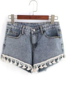 Blue Pockets Tassel Denim Shorts