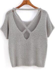 Grey Short Sleeve Backless Knit Sweater