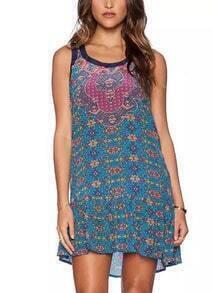 Blue Round Neck Sleeveless Floral Slim Dress