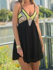 Black Spaghetti Strap Sequined Chiffon Dress