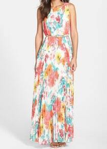 Multicolor Sleeveless Floral Pleated Maxi Dress