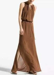 Khaki Sleeveless Hollow Split Chiffon Dress
