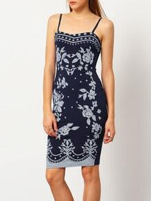 Navy Hugging Corseted Spaghetti Strap Floral Bodycon Dress