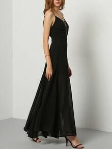 Black Floaty Promdress Spaghetti Strap Yule Split Chiffon Maix Dress