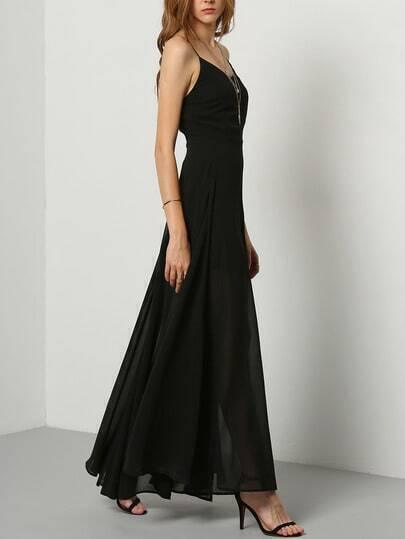 Black Floaty Promdress Spaghetti Strap Yule Split Chiffon Maix Dress pictures