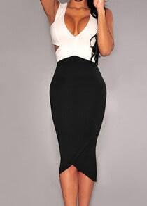 Black White V Neck Hollow Slim Dress