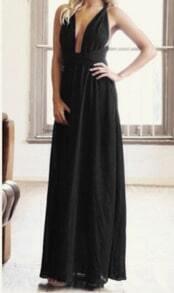 Black Halter Cross Strap Maxi Dress
