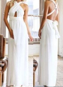 White Halter Cross Strap Maxi Dress