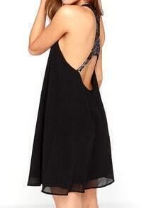 Black Lace Back Chiffon A Line Dress