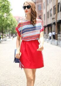 Red Short Sleeve Striped Loose Casual Dress