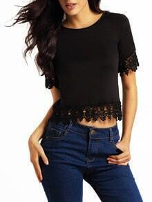 Black Lace Short Sleeve Crop T-Shirt