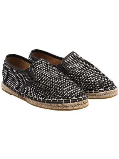 Black Weave Casual Flats