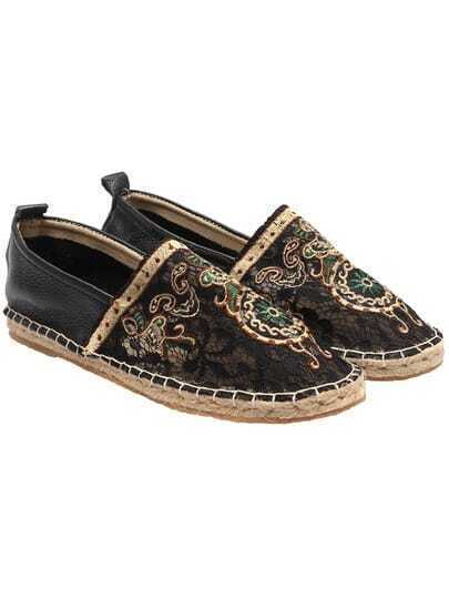 Black Embroidered Lace Flats
