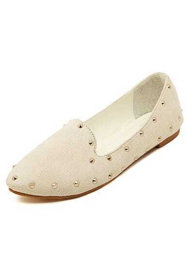 Beige Point Toe Rivet Flats