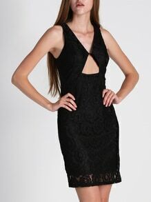 Black Sleeveless Backless Cut Out Lace Dress