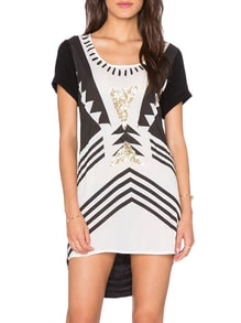 White Black Short Sleeve Argyle Triangle Geometric Print High Low Dress